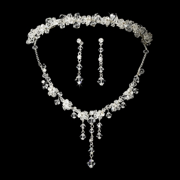 Swarovski Crystal Bridal Necklace Earring & Tiara Set 7807