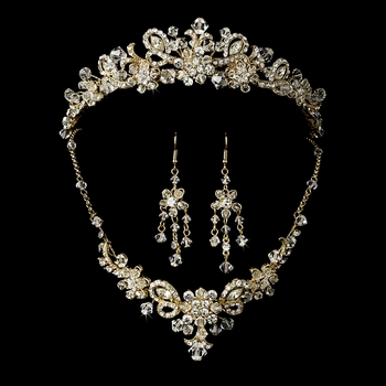 Swarovski Crystal Bridal Necklace Earring & Tiara Set 7821 (Gold or Silver)