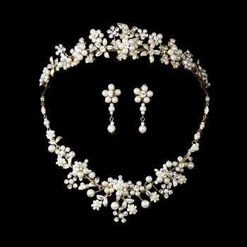 Pearl & Crystal Bridal Jewelry & Tiara Set (Gold or Silver)