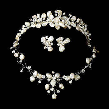 Freshwater Pearl & Crystal Bridal Jewelry & Tiara Set 8134
