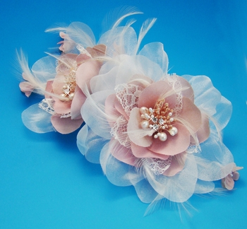 Bridal Pink Feather Fascinator ( Special Order Any Color)