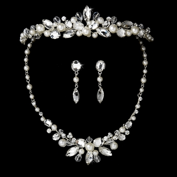 Pearl Bridal Necklace Earring & Tiara Set