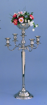 "5 Light Candleabra with Floral Bowl 34"" Tall"