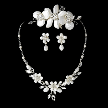 Pearl & Crystal Bridal Necklace Earring & Comb Set