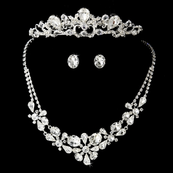 Swarovski Bridal Necklace Earring & Tiara Set NE 8313 & Comb 8246