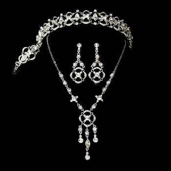 Elegant Rhinestone Bridal Necklace Earring & Tiara Set***Tiara Slightly Irregular Noticeable Yellow Marks***