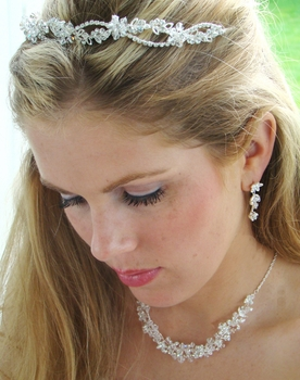 Crystal Bridal Jewelry & Tiara Set NE 7600 & HP 2433