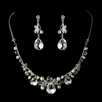 Necklace Earring Set 8388 Silver Ivory