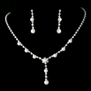 Necklace Earring Set 8422 Silver White