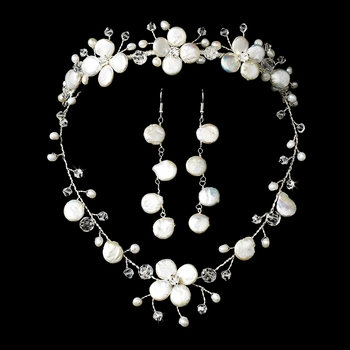 Freshwater Pearl & Crystal Bridal Jewelry & Tiara Set NE 8137 & HP 8137