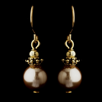 Gold Light Brown Glass Pearl & Bali Bead Drop Earrings 8662