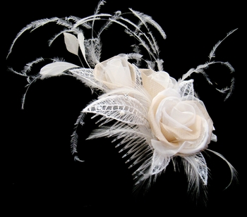 Champagne Bridal Feather Fascinator (Special Order Only - Any Color)