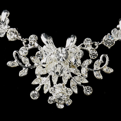 Silver Clear Austrian Crystal & Rhinestone Necklace & Earrings Bridal Jewelry Set 8217