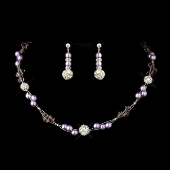 Light Amethyst Pearl & Swarovski Crystal Necklace & Earrings Bridal Jewelry Set 8751