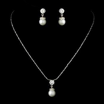 Silver White Pearl & CZ Crystal Necklace & Earrings Bridal Jewelry Set 71779 (2 pieces in stock)