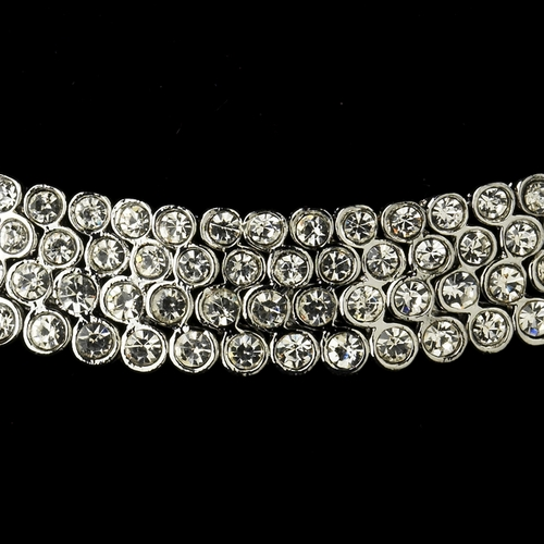 Antique Silver Clear Rhinestone Coil Necklace & Earrings Bridal Jewelry Set 725