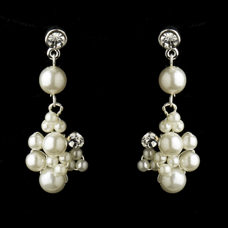 Silver Ivory Pearl Amp Rhinestone Flower Necklace Amp Earrings Bridal Jewelry Set 7660