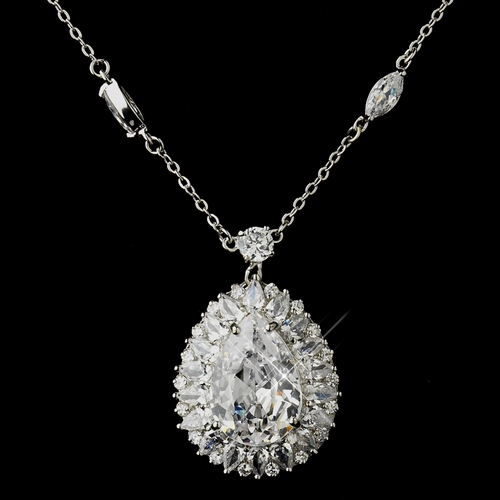Silver Clear CZ Crystal Flower Necklace & Earrings Bridal Jewelry Set 8609