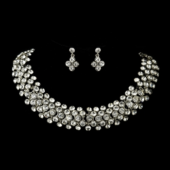 Antique Silver Clear Rhinestone Bridal Necklace & Earrings Bridal Jewelry Set 8734