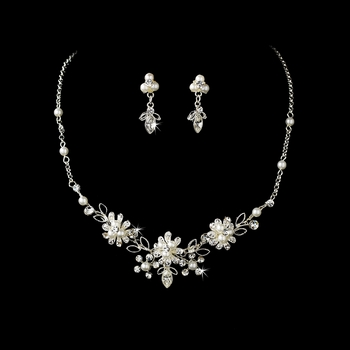 Dainty Silver Clear Rhinestone & White Pearl Flower Necklace & Earring Set 6858