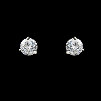 Fabulous Silver Clear CZ Stud Earrings 2429
