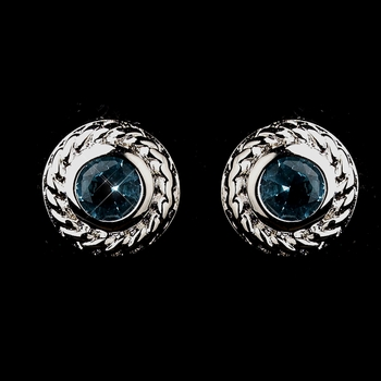 Vintage Silver CZ Aqua Stud Earrings 3587 ***Discontinued***