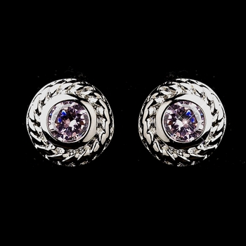 Vintage Silver CZ Pink Stud Earrings 3587