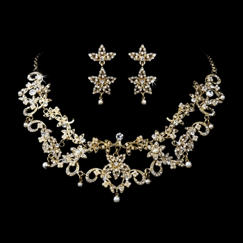* Necklace Earring Set 1013 Gold Clear***Discontinued***