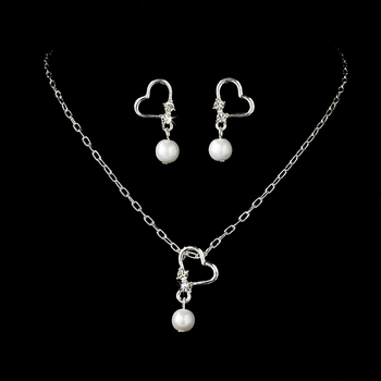 Children's Silver Pearl & Crystal Heart Jewelry Set NE C 8377