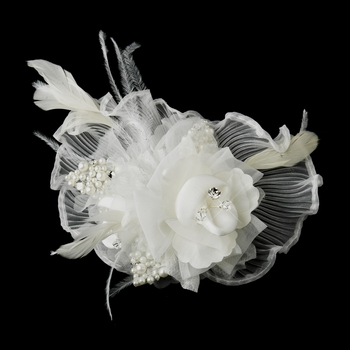 * Ivory Flower Feather Fascinator Hair Clip 3539 or Bridal Brooch (Pin Included on Back) Ivory or White