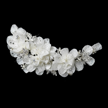 * Pearl & Rhinestone Accent Lace Floral Hair Clip 9641