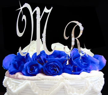 French Flower ~ Mr Crystal Initial Cake Topper Set