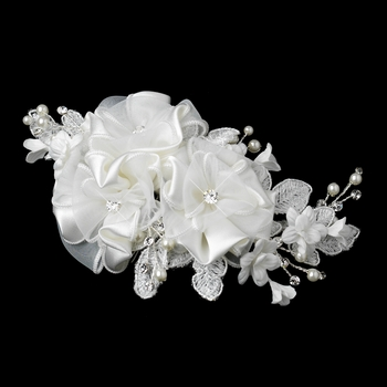 Silver Ivory Pearl & Rhinestone Accent Floral Hair Comb 9649