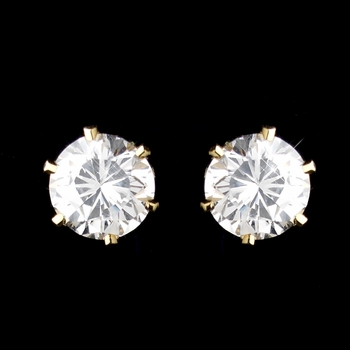 Gold Clear CZ Crystal Stud Clipped Earrings 0525