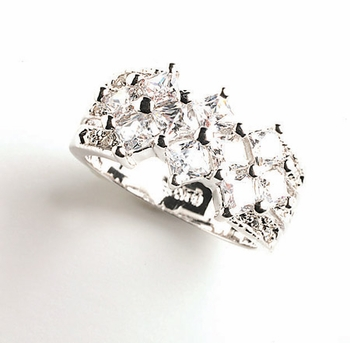 Silver Cubic Zirconia Lattice Style Ring RING2736