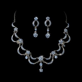 * Victorian Antique Silver Light Blue Jewelry Set NE 411