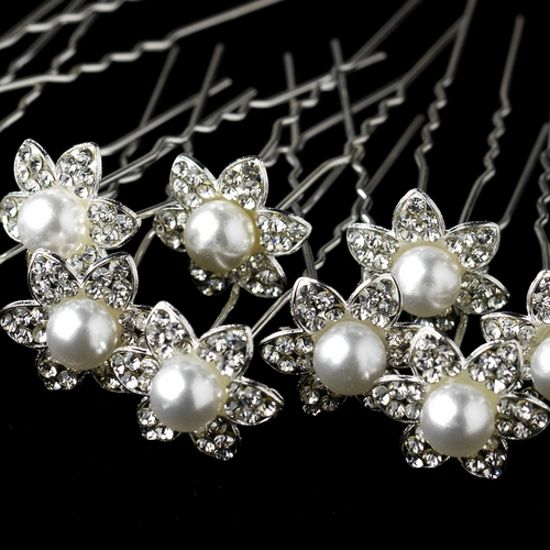 Silver Clear Flower w/ White Pearl Pin 57 (12 Per Pack)