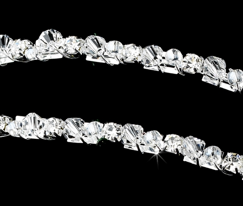 Elegant Silver Swarovski Crystal & Rhinestone Double Row Headband - HP 8410***Discontinued***