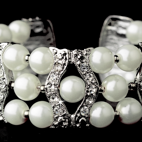 Silver Clear & White Coil Cuff Pearl Bracelet 2519***Discontinued***