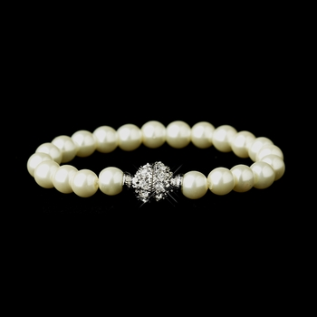 Ivory Glass Pearl Pave Ball Bridal Bracelet 720 **Discontinued**