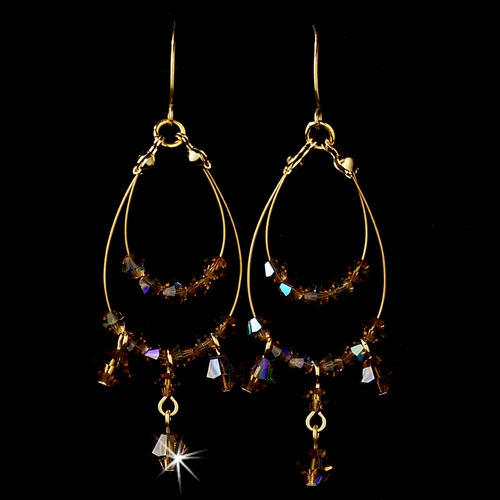 Necklace Earring Set 8153 Gold Brown