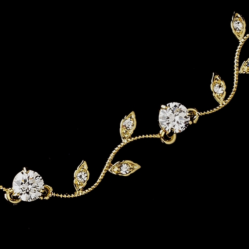 Gold Clear CZ Crystal Necklace 0112