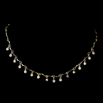 Gold Clear Rhinestone Dangle Necklace 0993