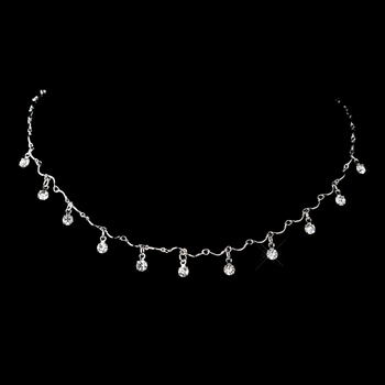 Silver Clear Rhinestone Dangle Necklace 0993