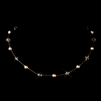 Gold Light Brown Illusion Czech Glass Pearl & Swarovski Crystal Bead Necklace 2031