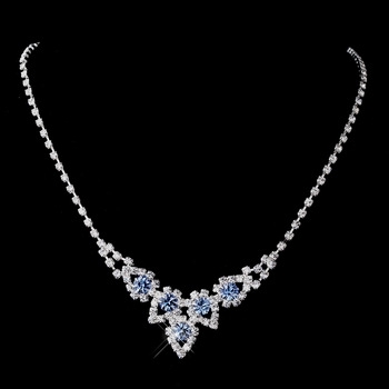 Silver Light Blue & Clear Round Rhinestone Necklace 9381