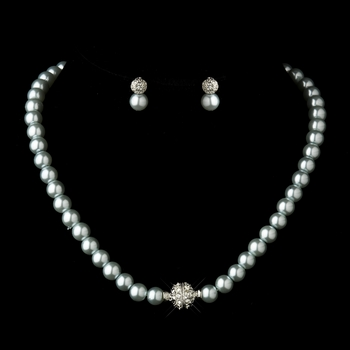 Silver Light Blue Glass Pearl Pave Ball Necklace & Earrings Bridal Jewelry Set 720