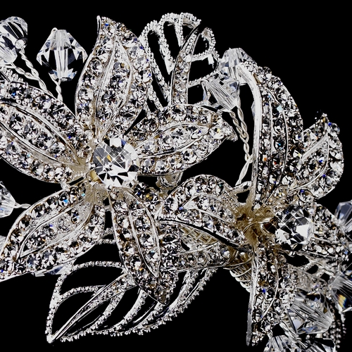 Silver Crystal Side Accented Flower Headband HP 944