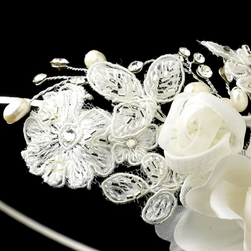 Dainty Side Accented Ivory Fabric Lace Flower Bridal Headband 9614