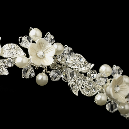 Diamond White Resin Flower Pearl & Crystal Bridal Headband in Silver 9619